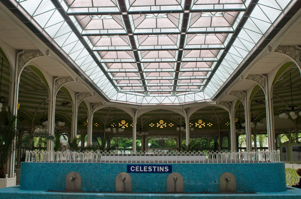 Water taps in the Halle des Sources at Vichy thermal spa, Vichy, Auvergne, France
