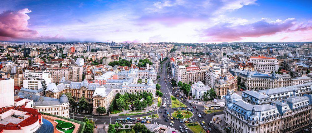 Aerial panoramic view of Bucharest, Romania