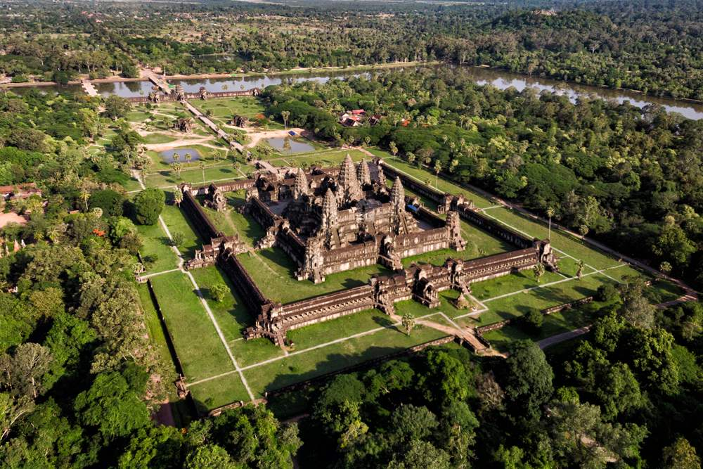 Aerial view of Angkor Wat temple complex, Siem Reap, Cambodia