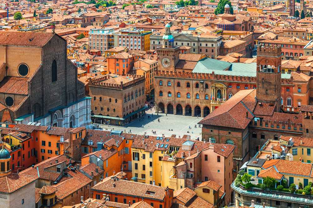 Aerial view of Piazza Maggiore in Bologna, Italy