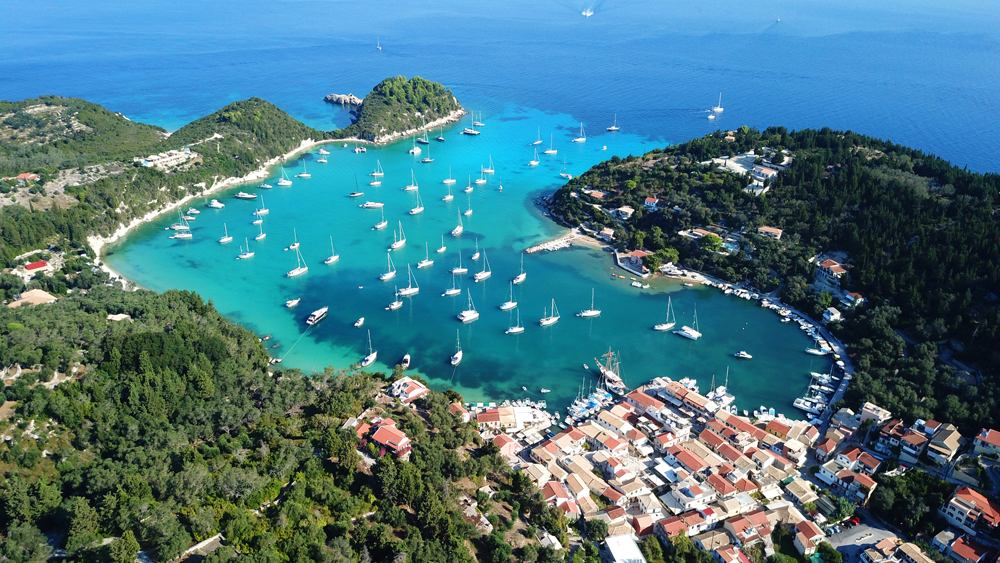 Aerial view of small port and fishing village of Lakka, Paxos island, Ionian Islands, Greece