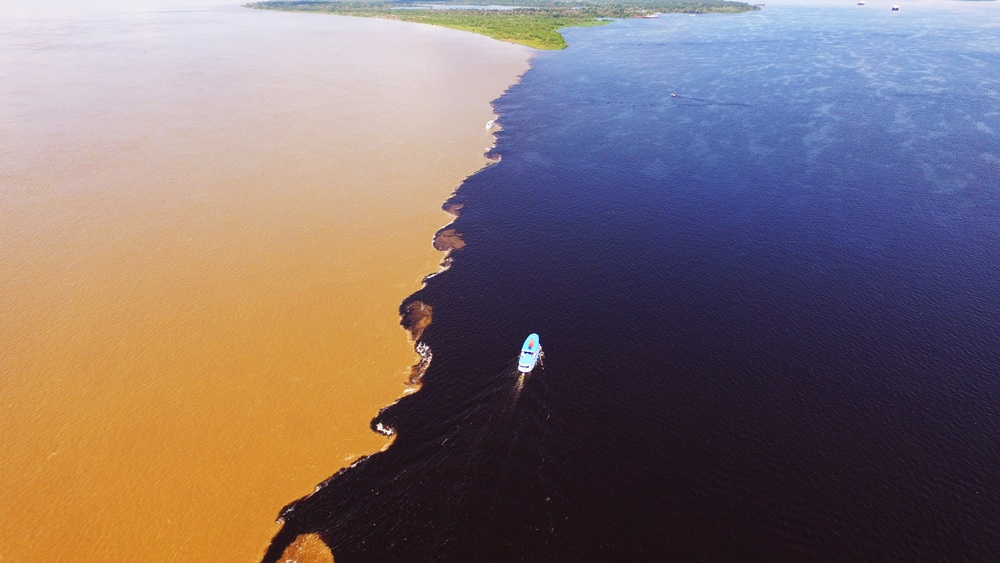 Aerial view of the Meeting of the Waters, Amazon, Brazil