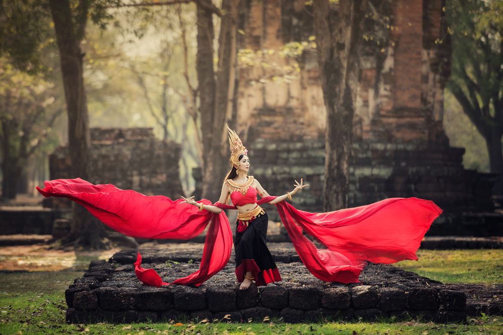 Aspara Dancer at old temple, Cambodia