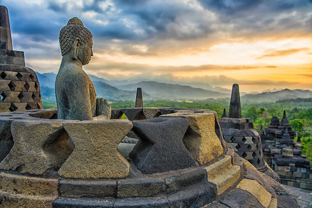 Borobudur Temple at sunset, Yogyakarta, Java, Indonesia