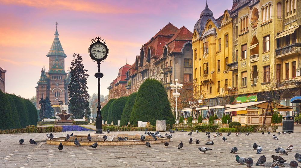 City Clock and Orthodox Cathedral, Victory Square, Timisoara, Romania