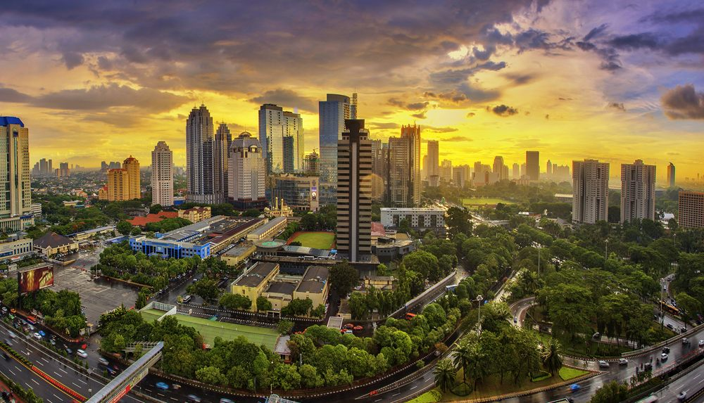 City of Jakarta at sunset, Indonesia