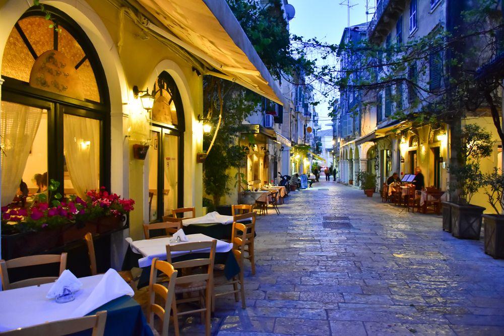 Corfu Town street at night, Corfu island, Ionian Islands, Greece
