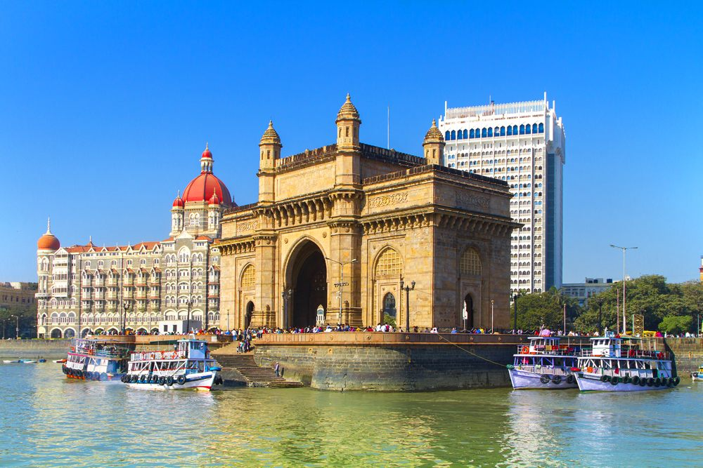 Gateway of India and boats as seen from the Mumbai Harbour in Mumbai, India
