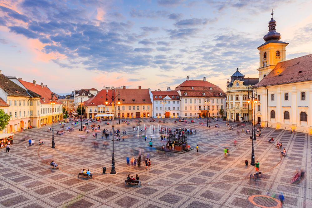 Great Square (Piata Mare) with City Hall and Brukenthal Palace in Sibiu, Transylvania, Romania