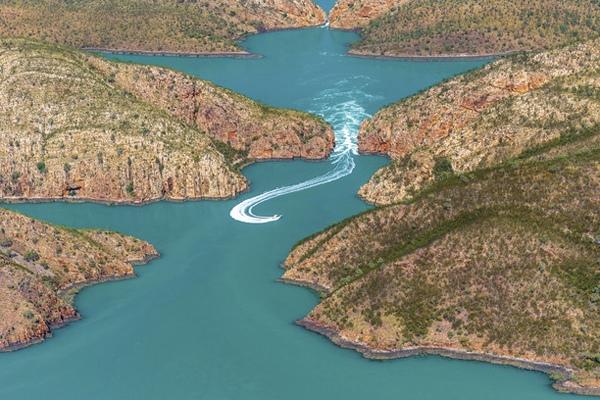 Aerial view of the Horizontal Waterfalls, Talbot Bay. Kimberley, Australia - Tourism Western Australia