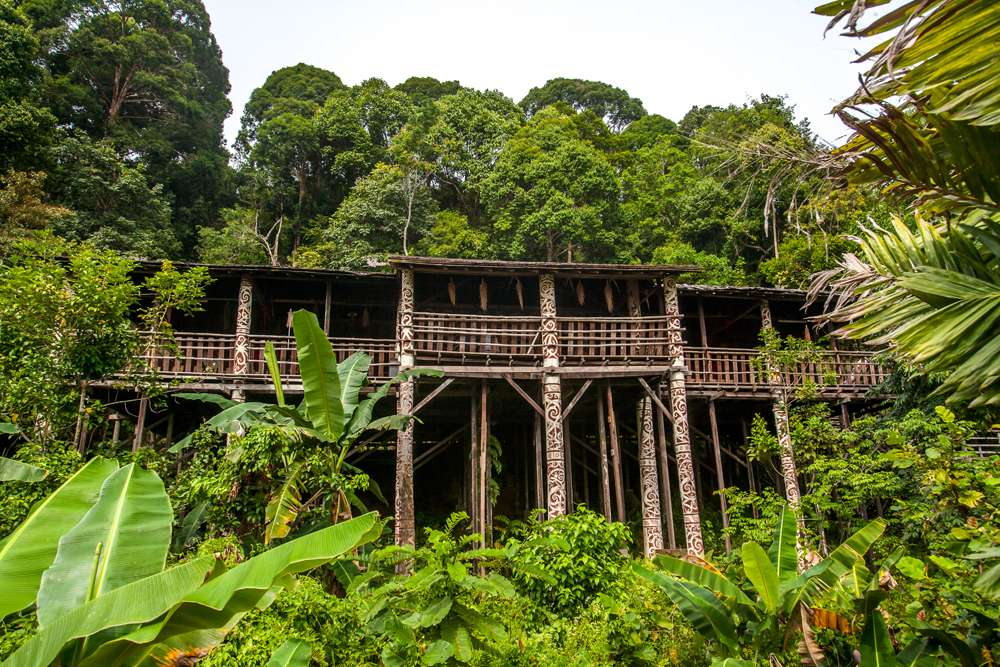 Iban longhouse in Sarawak cultural village, Malaysian Borneo