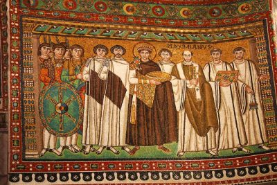 Justinian and His Attendants mosaic displayed in Church of San Vitale, Ravenna, Italy