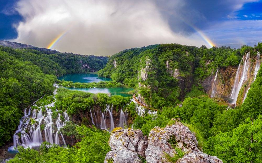 Morning over waterfalls in Plitvice Lakes Park, Croatia