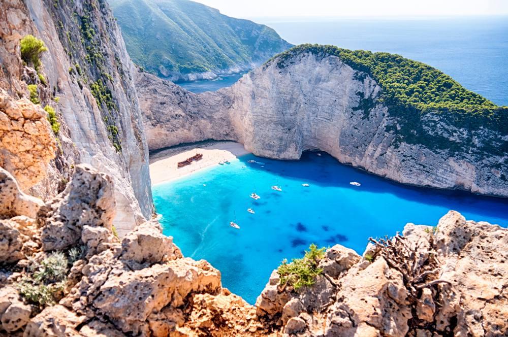 Navagio Beach with the famous wrecked ship in Zante, Zakynthos Island, Ionian Islands, Greece