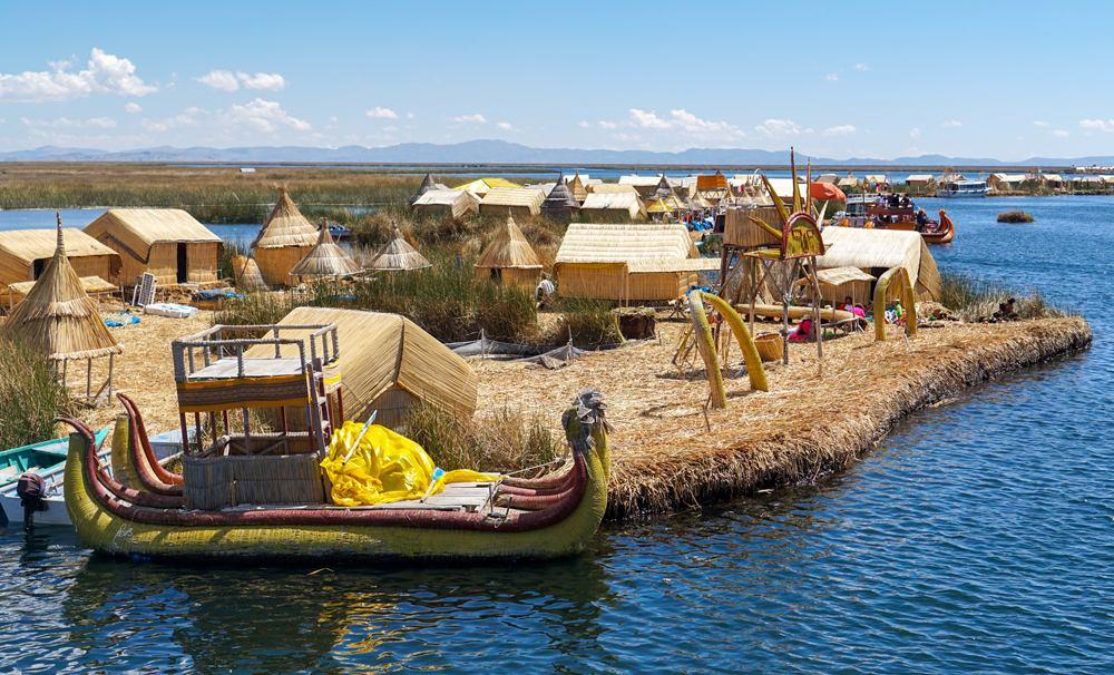 One of the Uros Islands in Lake Titicaca, Peru