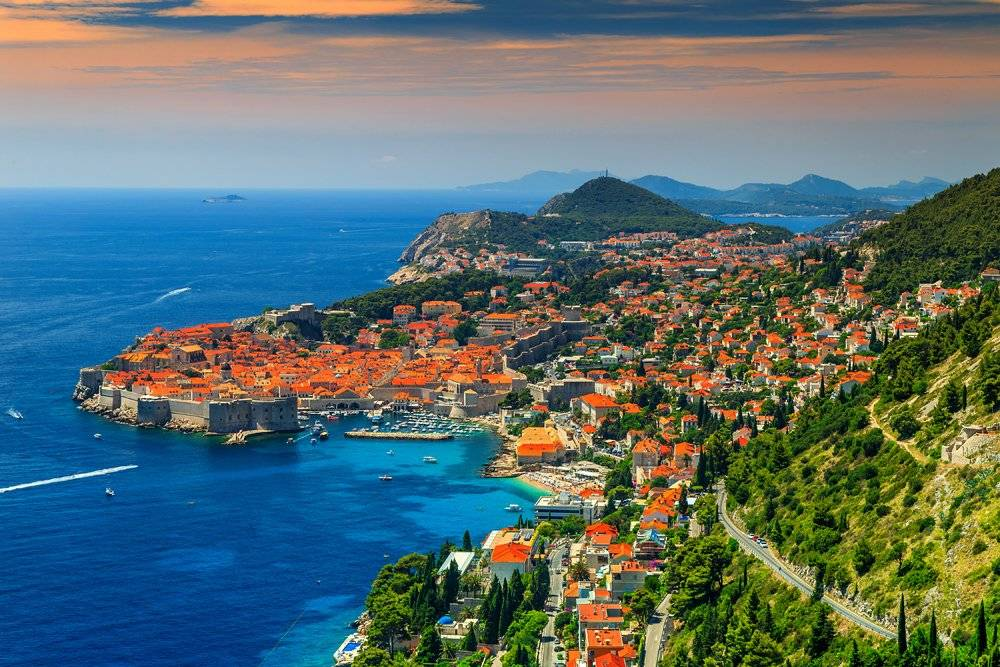 Panorama of Dubrovnik with old town and Adriatic Sea, Croatia