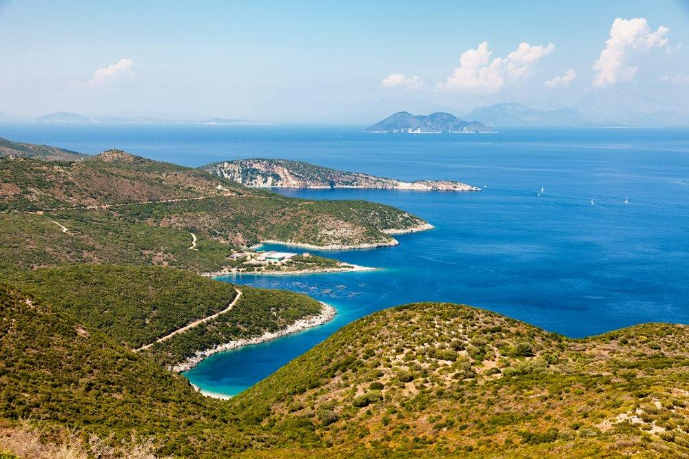 Panoramic view of Ithaca island, Ionian Islands, Greece