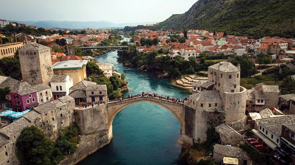 Panoramic view of Stari Most Bridge, Mostar, Bosnia and Herzegovina