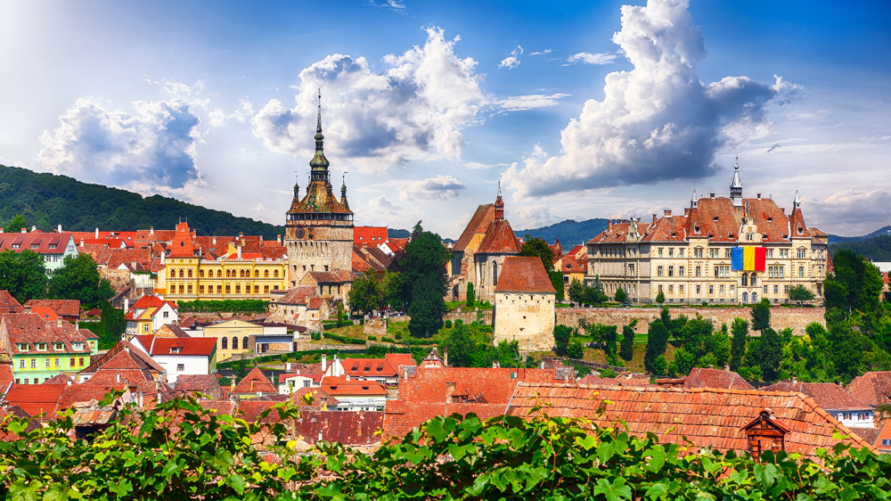 Panoramic view over the medieval cityscape architecture in Sighisoara, Transylvania, Romania