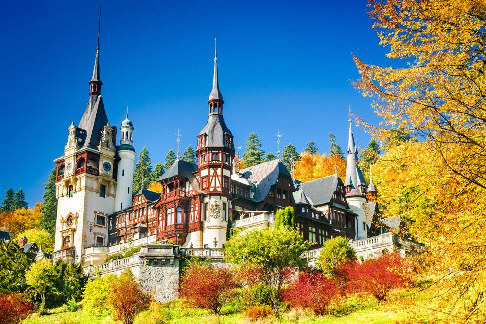Peles Castle and ornamental garden in Sinaia, Romania
