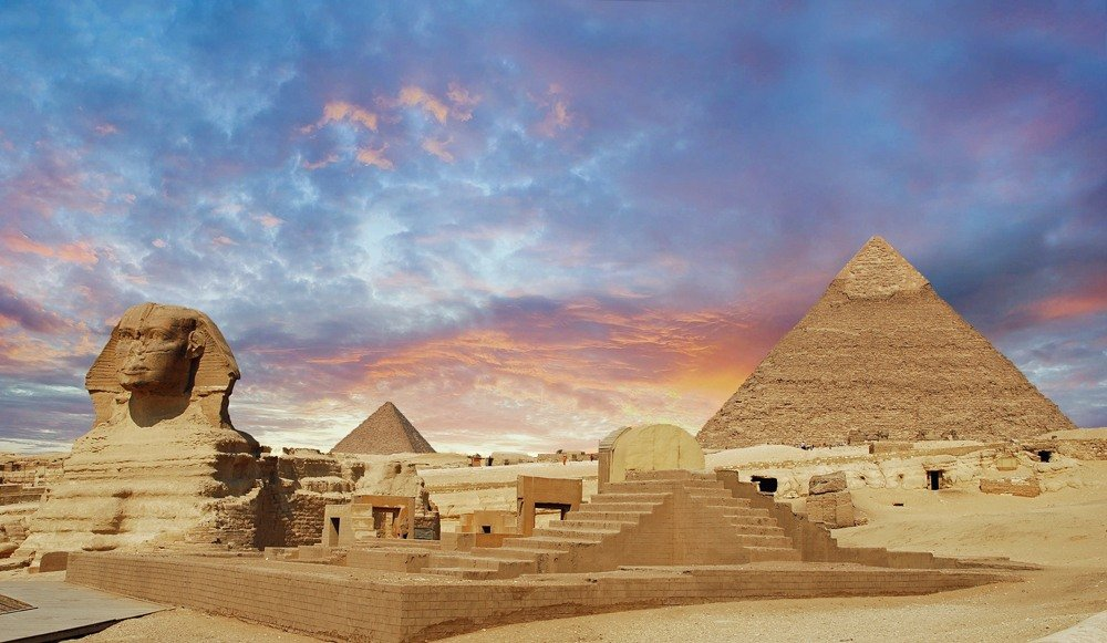 Pyramids of Giza and Sphinx in Cairo, Egypt