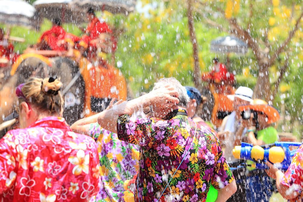 Revelers enjoy water splashing during Water Splashing (Songkran) Festival in Ayutthaya, Thailand
