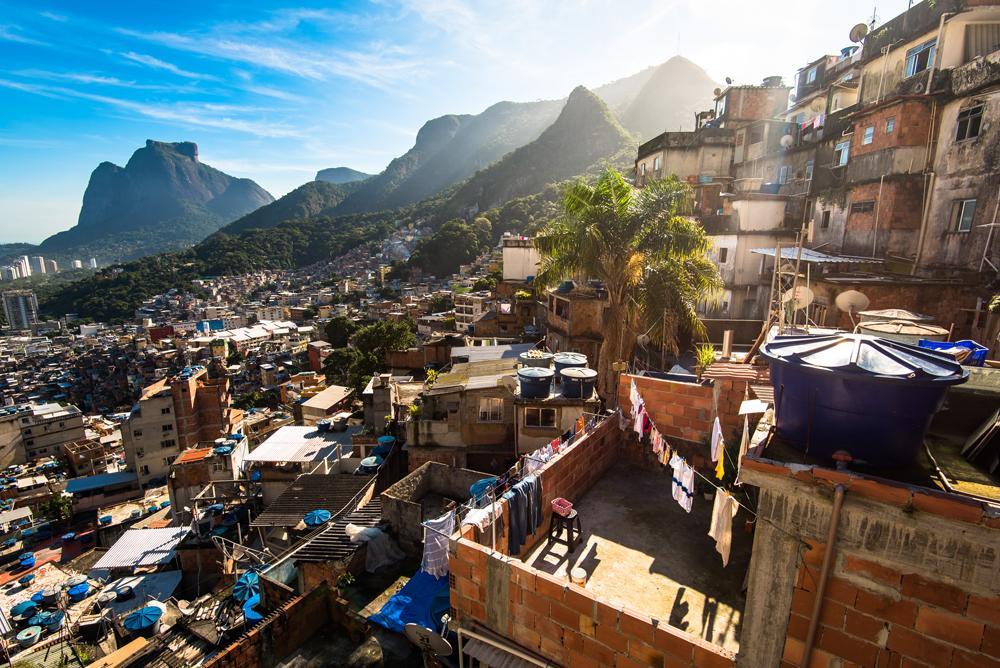Rocinha, the largest favela in Brazil, with surrounding mountains, Rio de Janeiro, Brazil