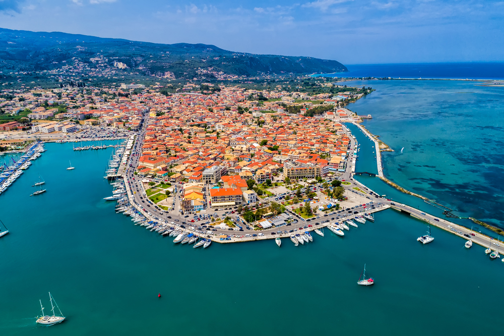 Sailboats in the marina and the city of Lefkada island, Ionian Islands, Greece