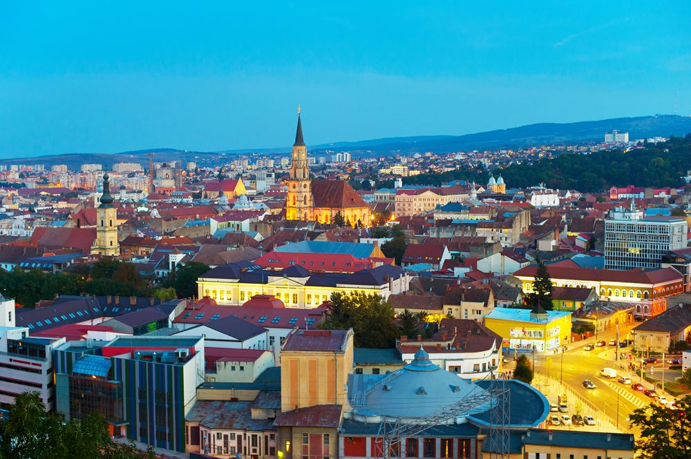Skyline of Cluj-Napoka, capital of Transylvania, Romania