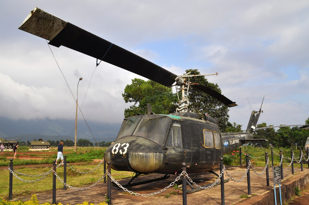 Vietnam War helicopter on display at the former site of Khe Sanh Combat Base, Vietnam
