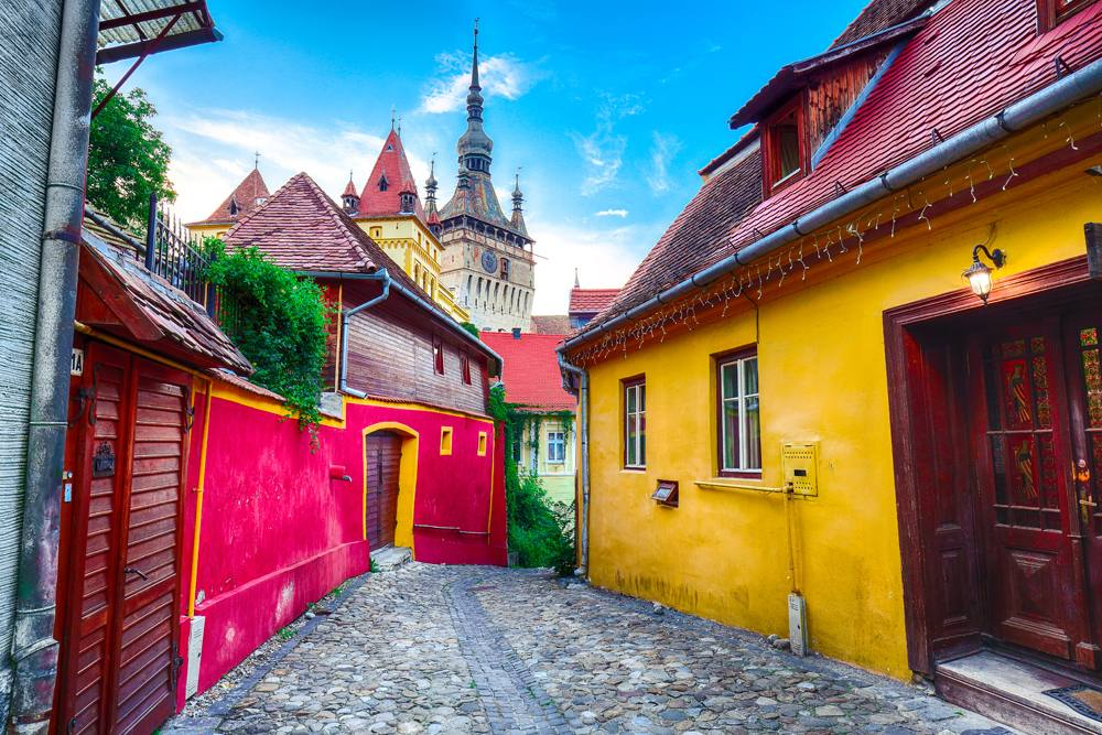 View of Sighisoara medieval city and Clock Tower built by Saxons, Transylvania, Romania