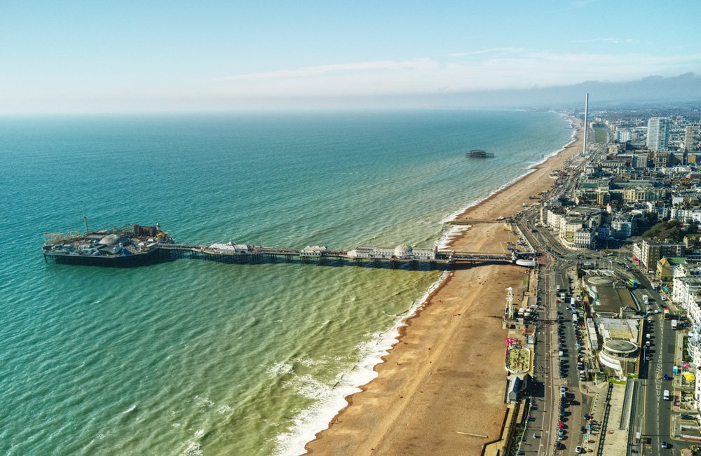 Aerial view of Brighton and Hove seafront, England, UK