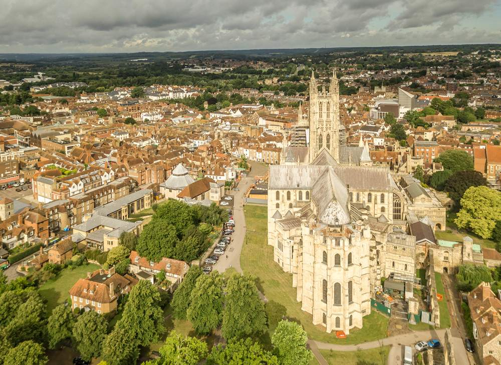 Aerial view of Canterbury in summer, Kent, England, UK