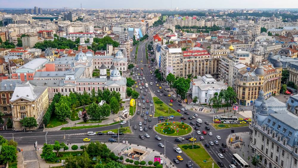 Aerial view of University Square in the civic center of Bucharest, Romania