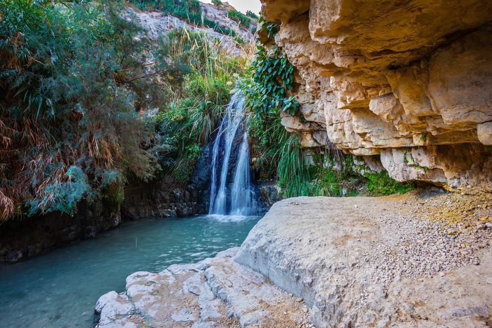 Beautiful waterfall in Ein Gedi National Park, Israel