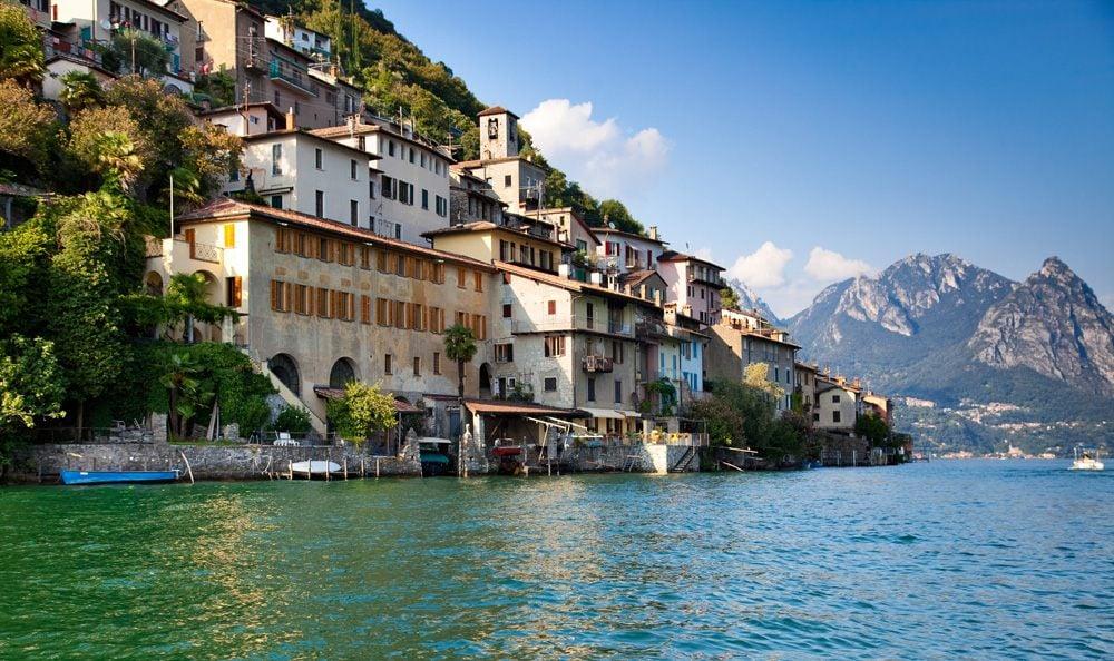 Buildings along the shore of Lake Lugano, Switzerland