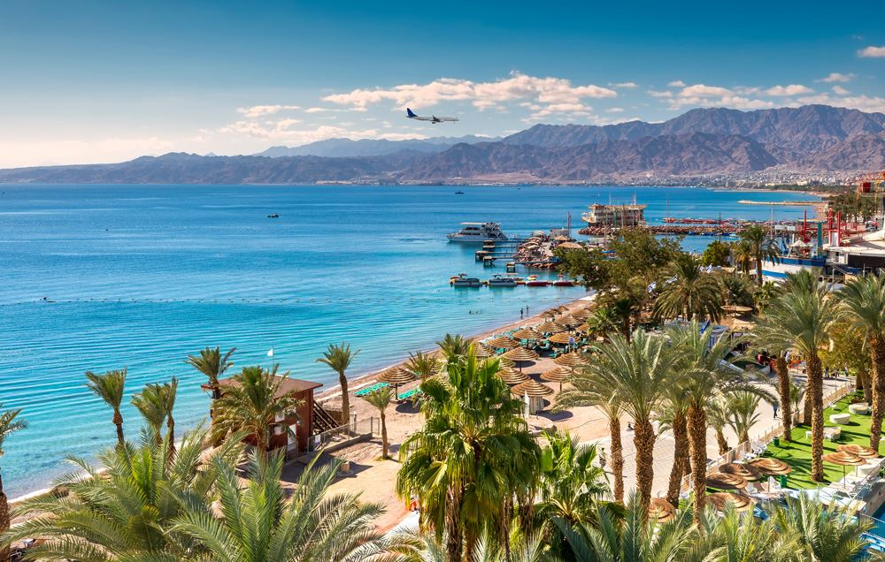 Central beach and marina in Eilat, Israel