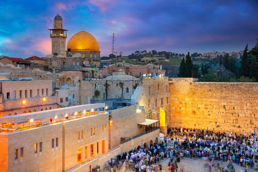Dome of the Rock and Western Wall at sunset, Jerusalem, Israel