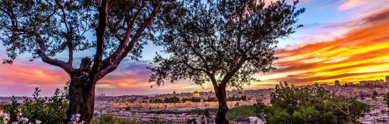 Dramatic sunset over Jerusalem seen from Mount of Olives, Israel