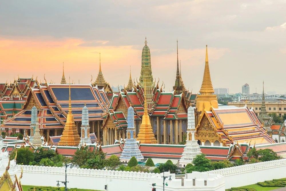 Emerald Buddha Temple at twilight in Grand Palace, Bangkok, Thailand