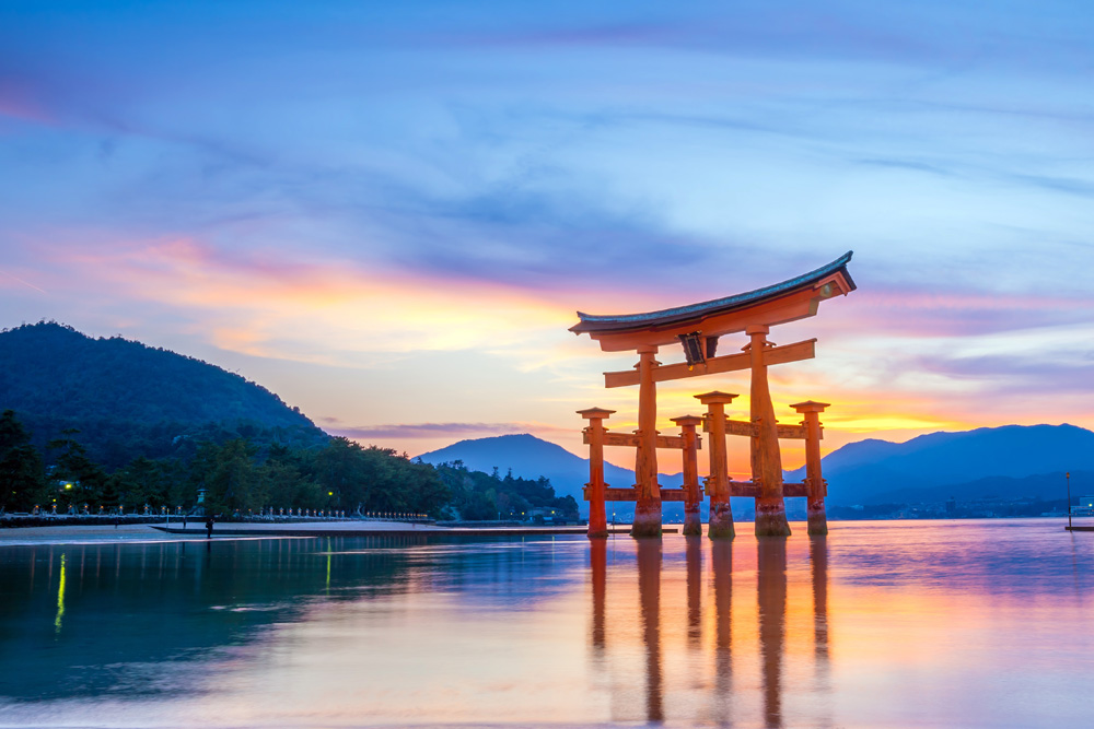 Famous floating torii gate at Itsukushima Shrine, Miyajima Island, Japan