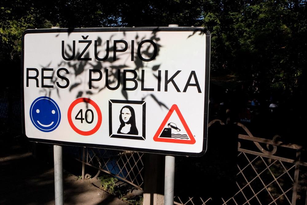 Funny road sign in Uzupis, Vilnius, Lithuania