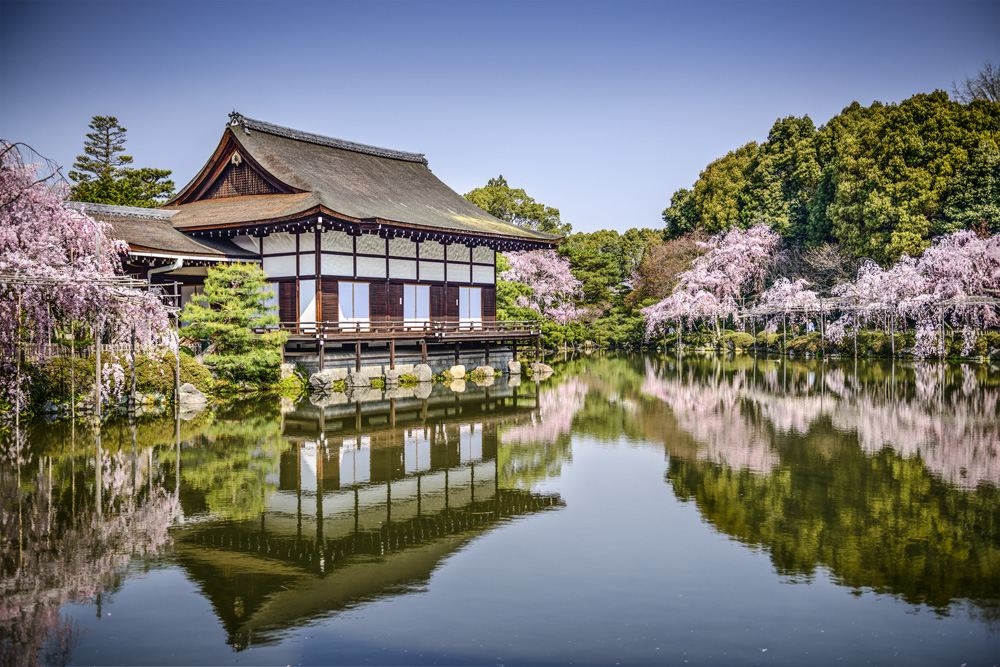 Gardens at Heian Shrine in the spring season, Kyoto, Japan
