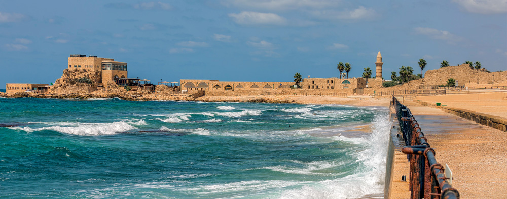 Harbour and Crusader Fortress in Caesarea, Israel