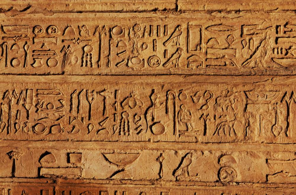 Hieroglyphics display in Egyptian Museum, Cairo, Egypt