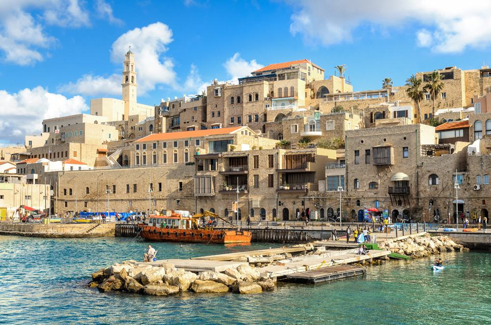 Jaffa old city and an ancient harbour on a beautiful day, Tel Aviv, Israel