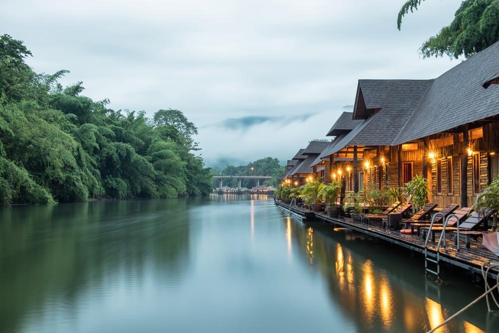 Jungle Raft Resort on River Kwai, near Bangkok, Thailand
