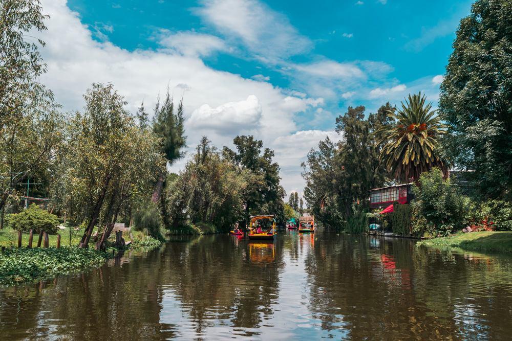 Mexican trajineras in Xochimilco's lake, Mexico Cropped