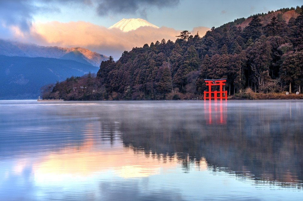 Mount Fuji reflection on Lake Ashi (Ashinoko), Hakone, Japan