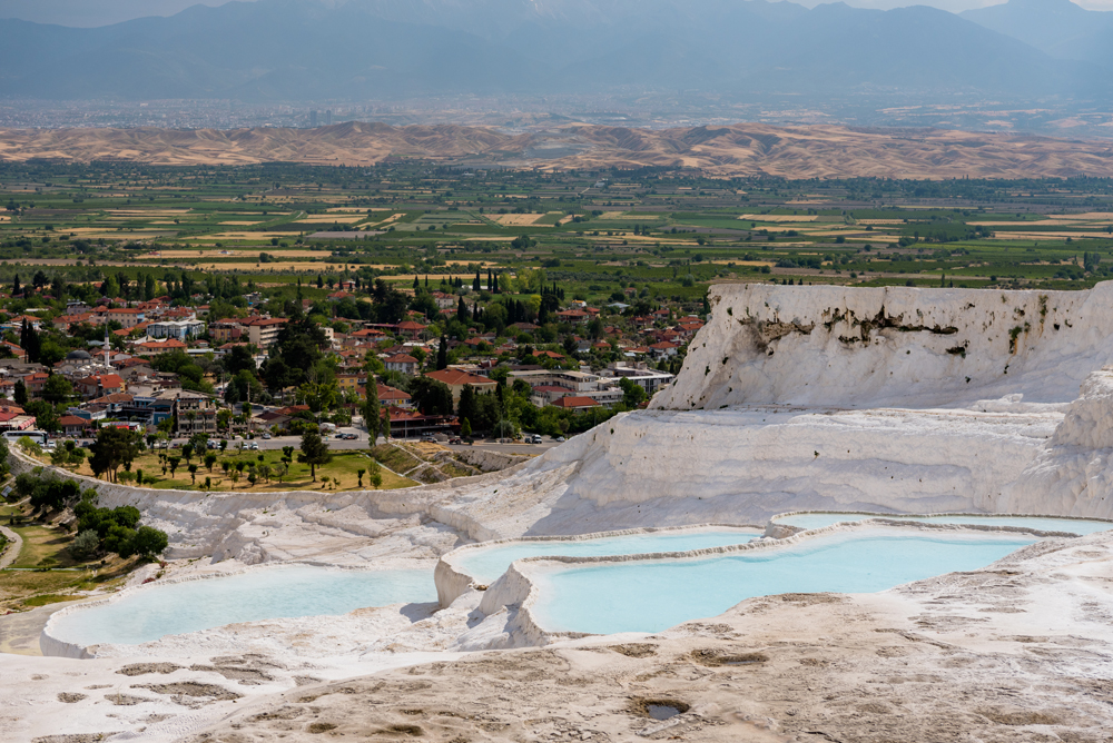Natural travertine pools and beautiful scenery in Pamukkale, Turkey